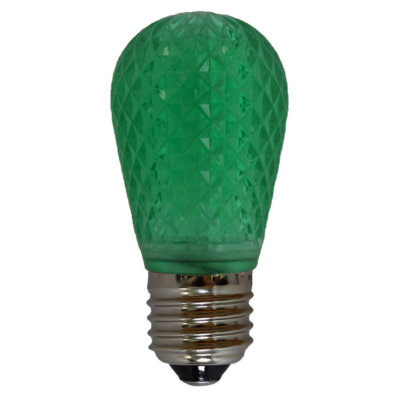 LED S14 Light Bulb - Medium Base - Faceted Bulb - Green