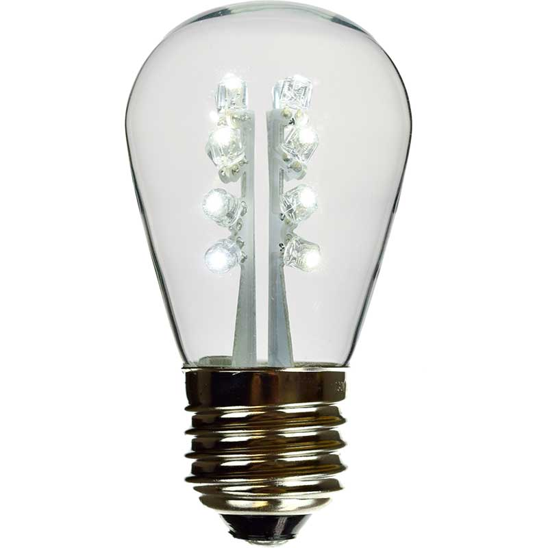 LED S14 Light Bulb - Medium Base - Pure White/Glass LI-S14LED-PW/GL