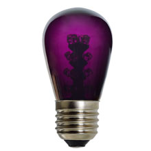 Purple LED S14 Medium Base Light Bulb - Glass Cover