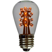 Yellow LED S14 Medium Base Light Bulb - Clear Glass