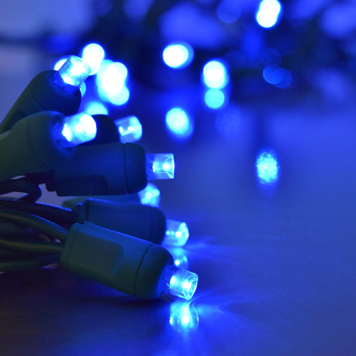 Blue led string light strand 50 lights blue led wide angle string lights green cord 50 lights aloadofball Image collections