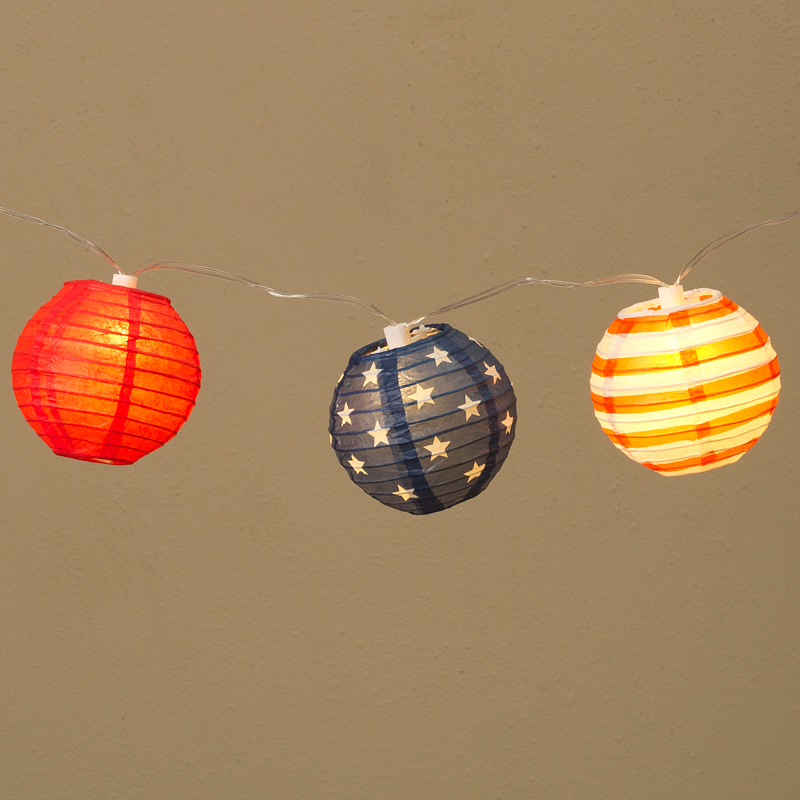 Americana 4th of July Lantern String Lights - 10 Lights