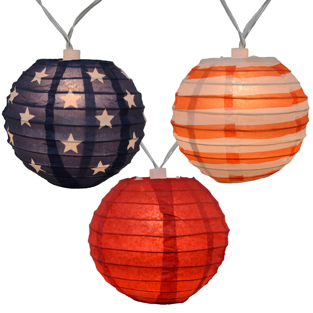 Lantern String Lights Battery Operated : Americana 4th of July Lantern String Lights - 10 Lights