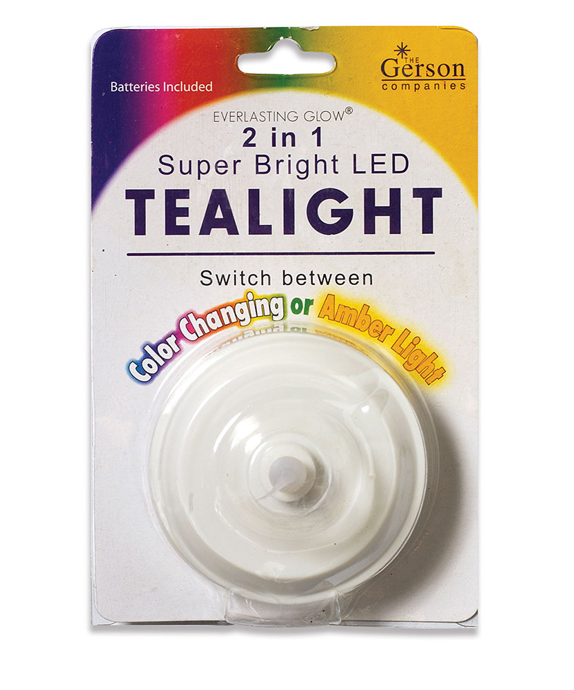 Large Plastic LED Tea Light - Dual Function - Battery Operated