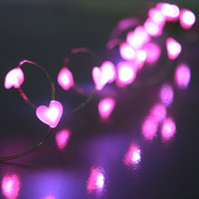 Pink LED Acrylic Heart Battery Operated Valentine String Lights