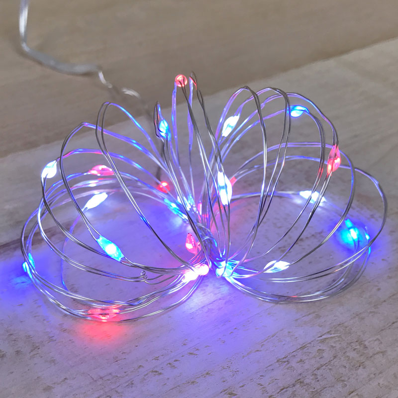 Red White & Blue LED Fairy Lights - Battery Operated