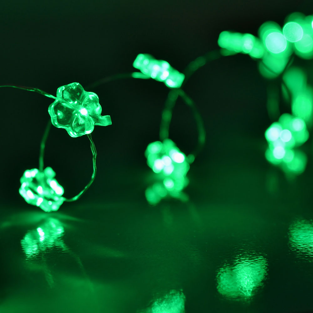Shamrock LED Ultra Thin Wire String Lights - Battery Operated
