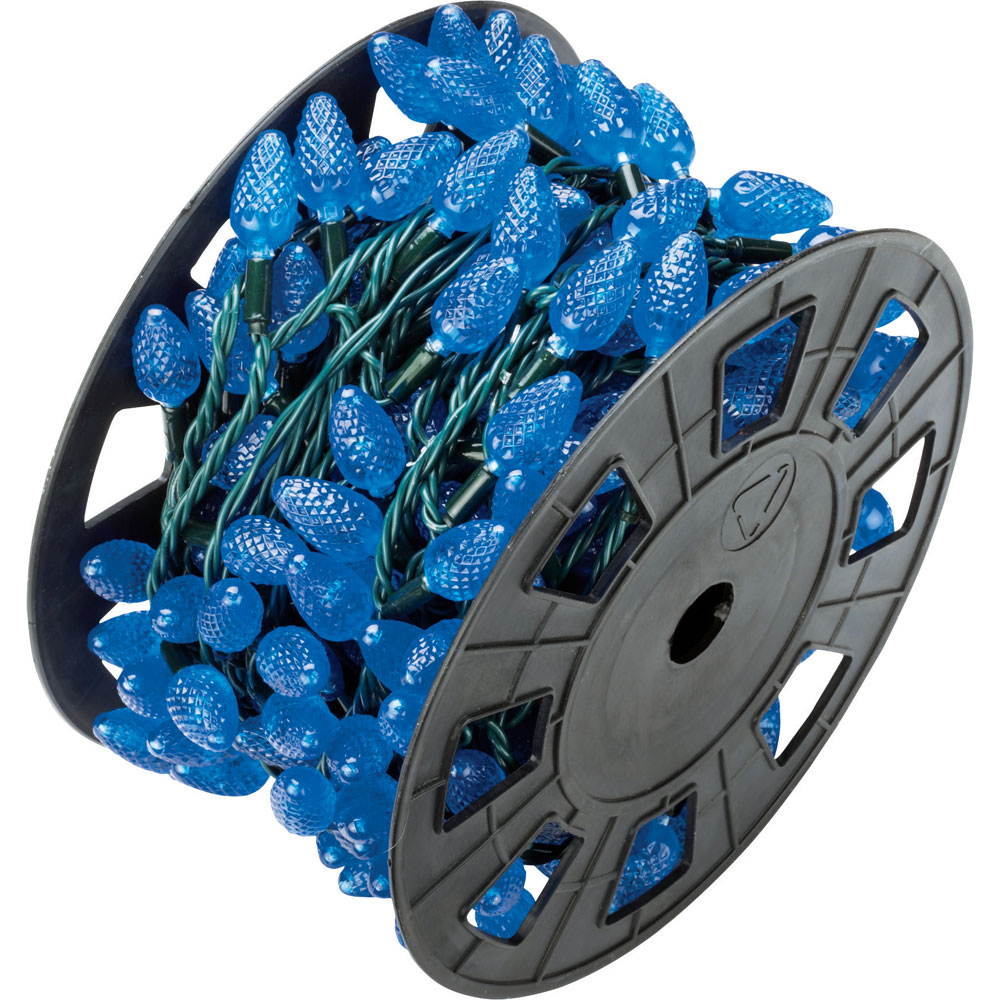 C6 Blue LED Party String Light Reel - 210 Lights