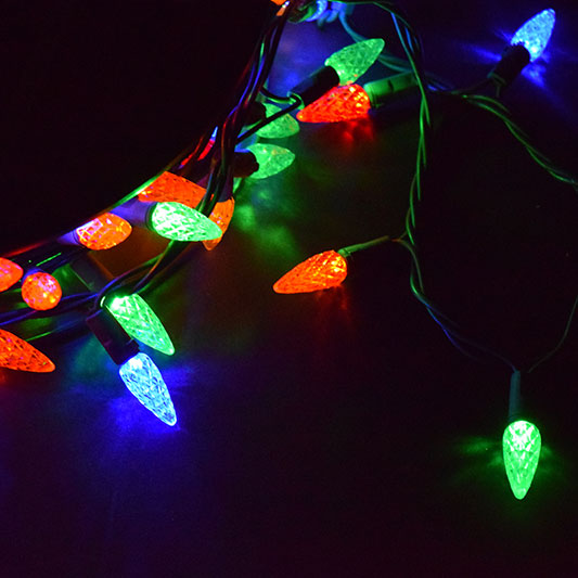 Multi colored led string lights c6 210 lights multi color c6 led string light reel 210 lights mozeypictures Images