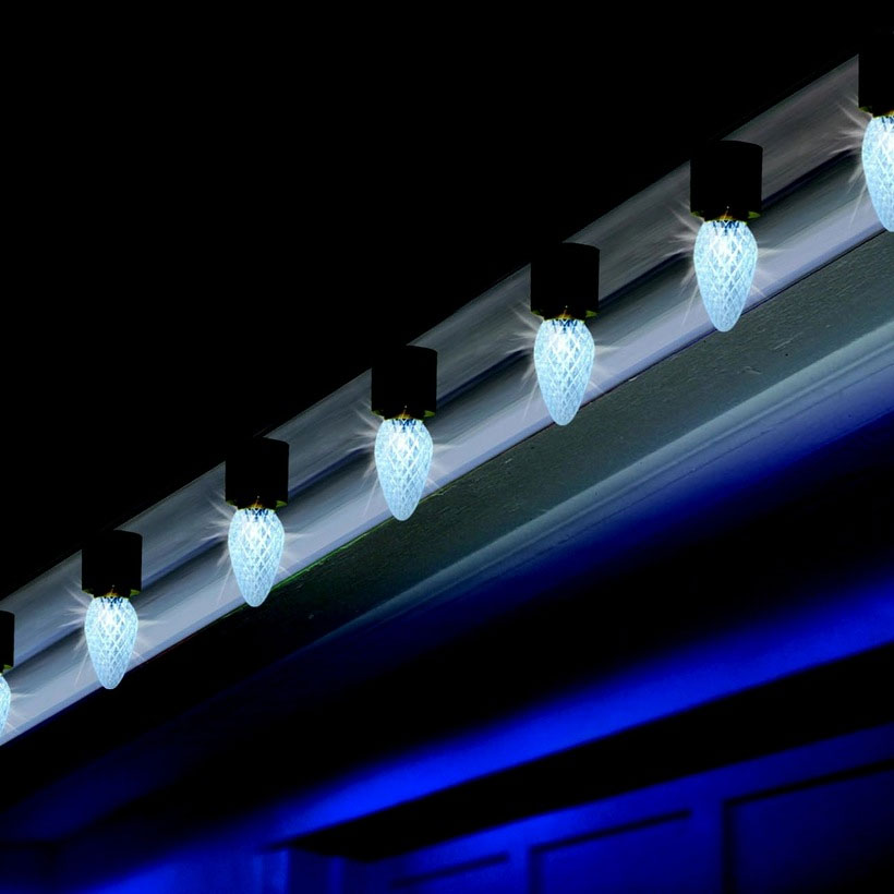 Amazing! Light Show Pure White LED C9 Faceted Lights - 15 Lights