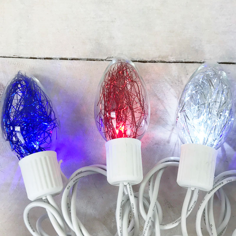 Red White Amp Blue Tinsel C9 Led String Lights