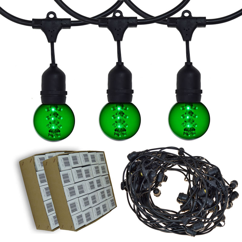 Globe String Lights Kit : 100 Green LED Designer Globe Light Strand - Suspended Black Wire