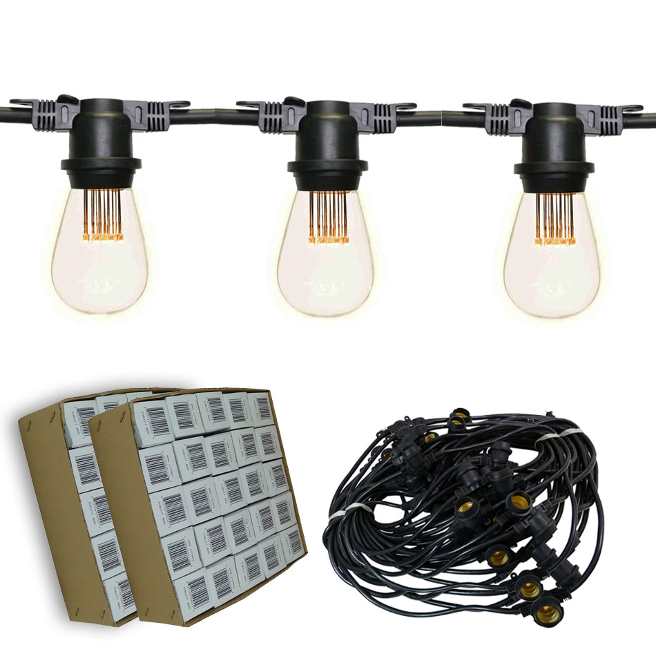 100' Vintage LED Suspended Light Strand Kit - Black