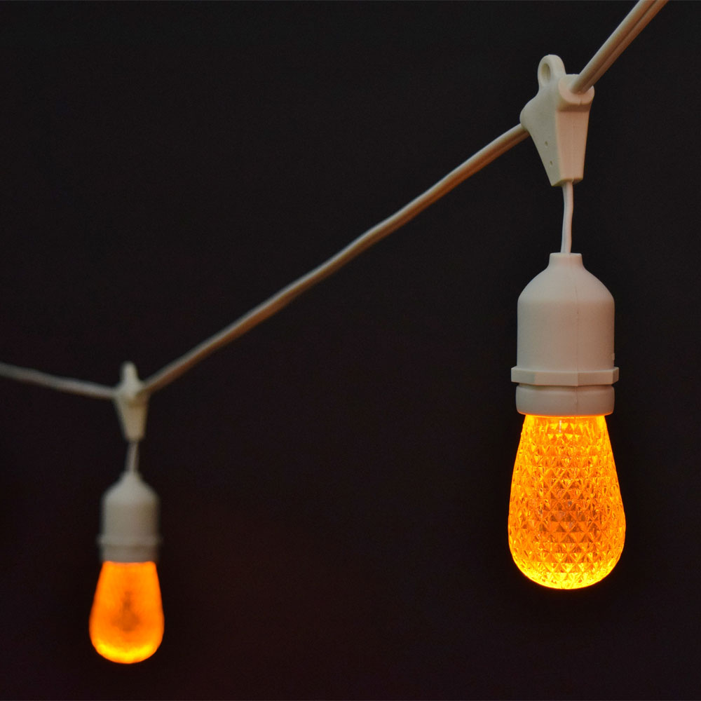 Led String Lights Industrial : Orange Faceted LED Commercial String Lights - 21 White Cord
