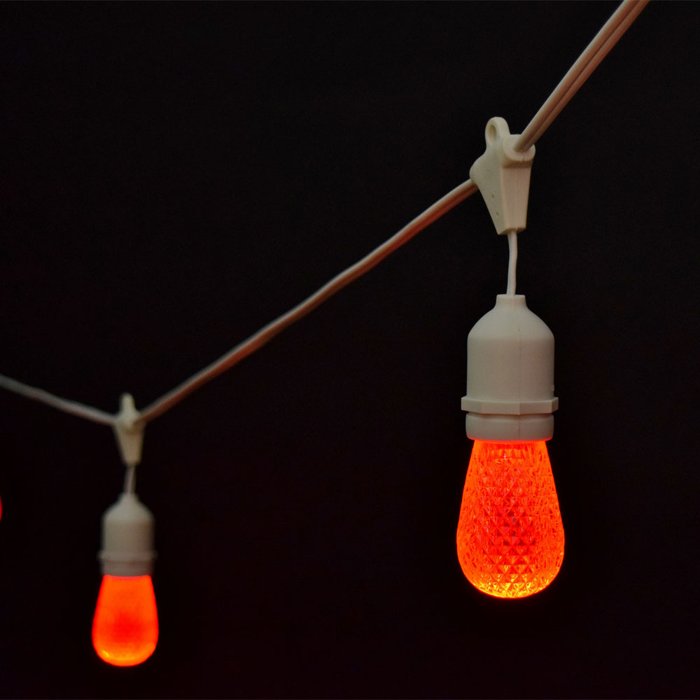 21' LED Commercial String Light Kit - Plastic Red Faceted LED Light Bulbs - White Strand