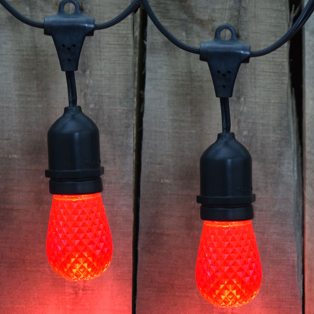 21' LED Commercial String Light Kit - Plastic Red Faceted LED Light Bulbs