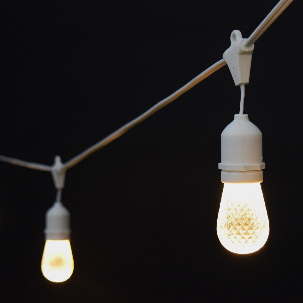 Sun Warm White LED Commercial String Lights - 21? White Cord