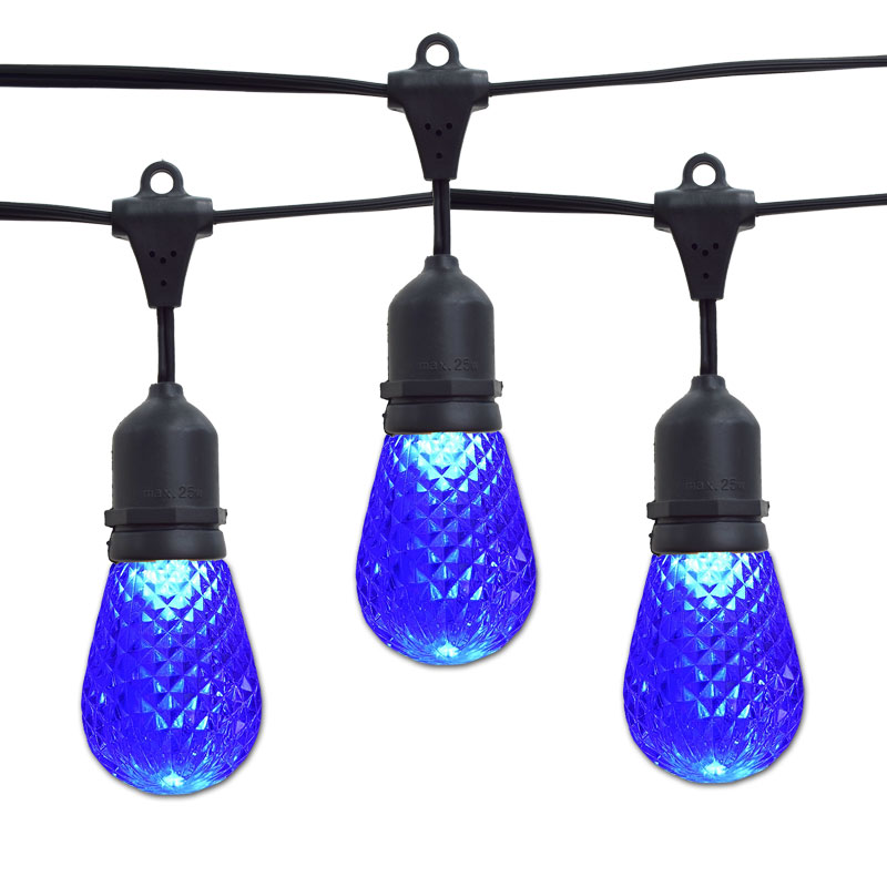 Blue LED Faceted Commercial String Lights