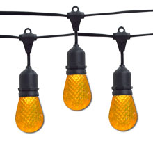 Yellow LED Faceted Commercial String Lights