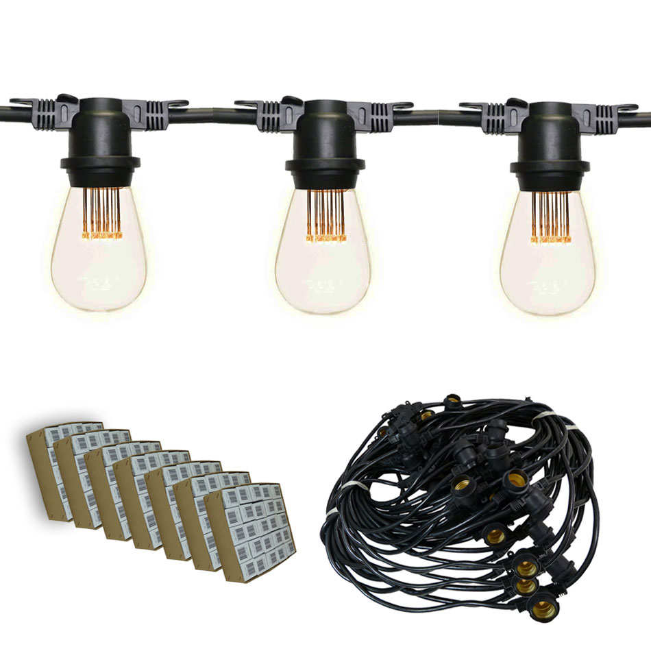 330' Vintage LED Suspended Light Strand Kit - Black
