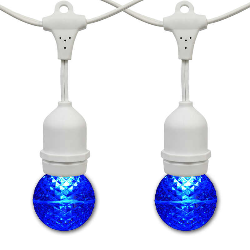 21' Blue LED Globe Light Strand Kit - White Suspended Wire