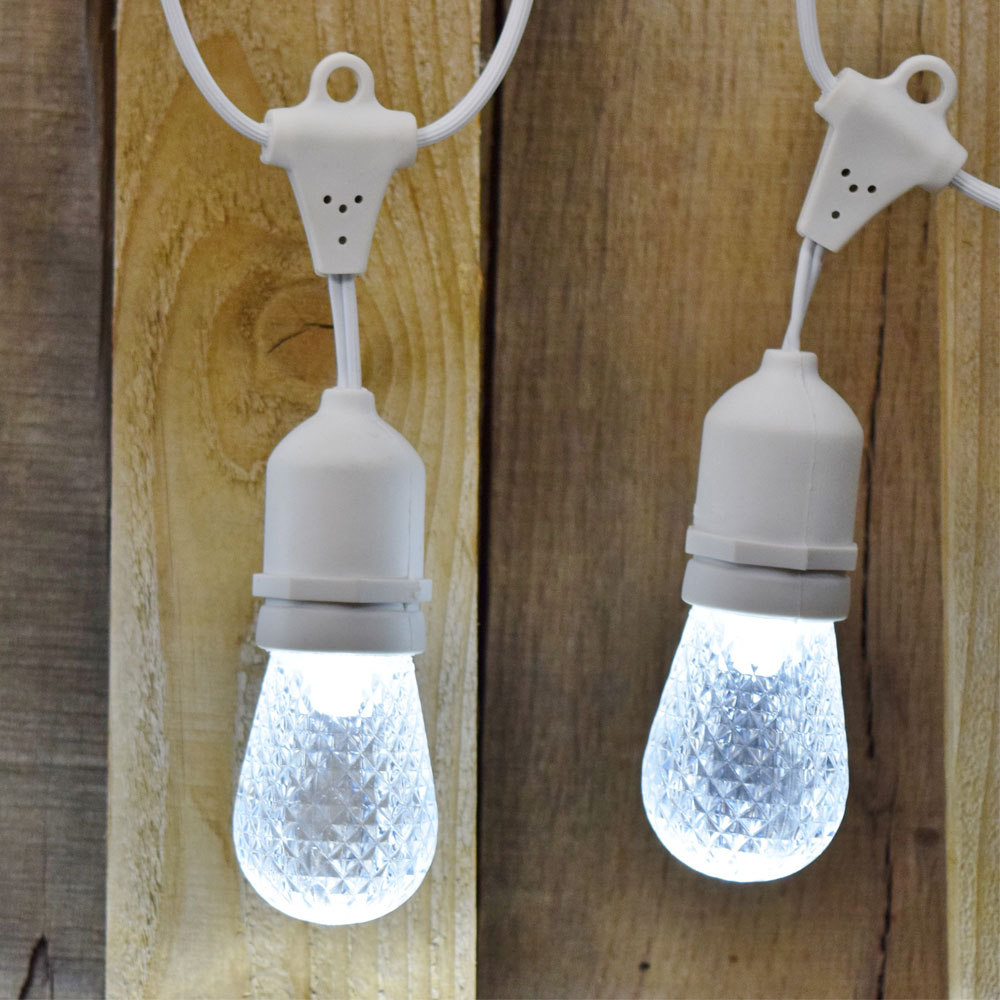 21' LED Commercial String Light Kit - Plastic Cool White Faceted LED Light Bulbs - White Strand