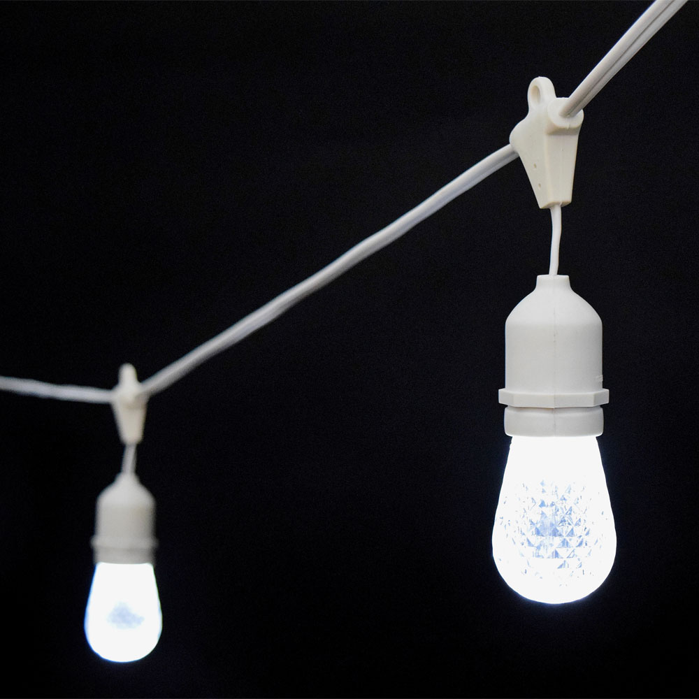 Cool White LED Commercial String Lights - 21 White Cord