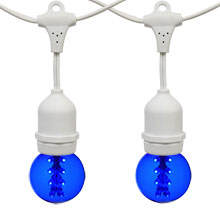 21' Blue Designer LED Globe Light Strand Kit - White Wire