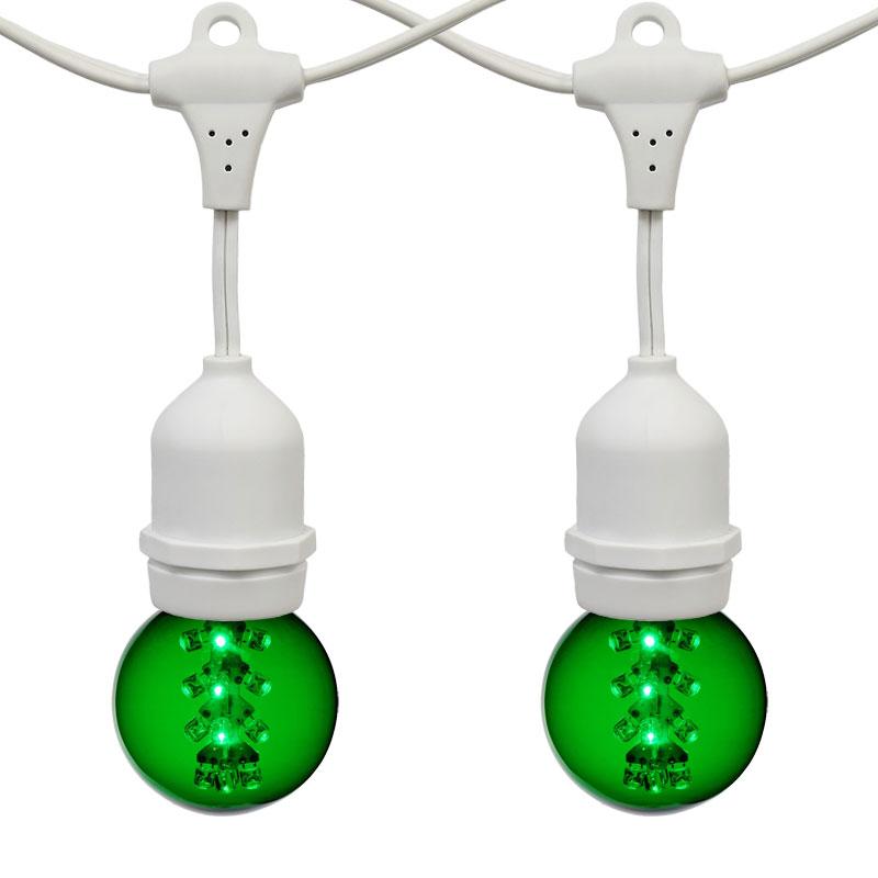 21 ft green g50 led designer globe light strand white. Black Bedroom Furniture Sets. Home Design Ideas