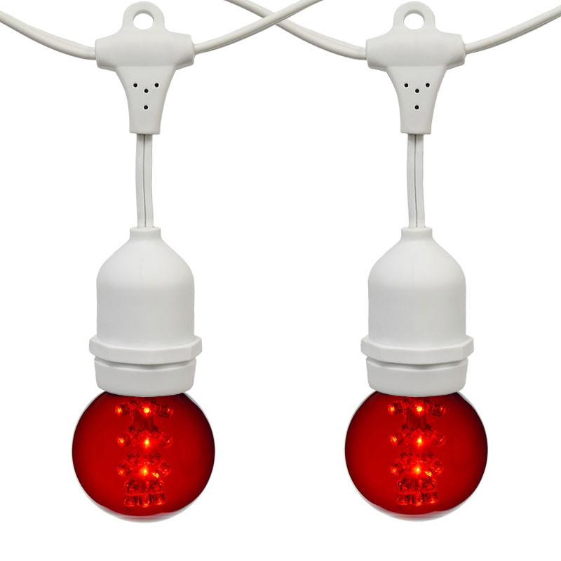 Globe String Lights Kit : 21 ft. Red G50 LED Designer Globe Light Strand - White Suspended