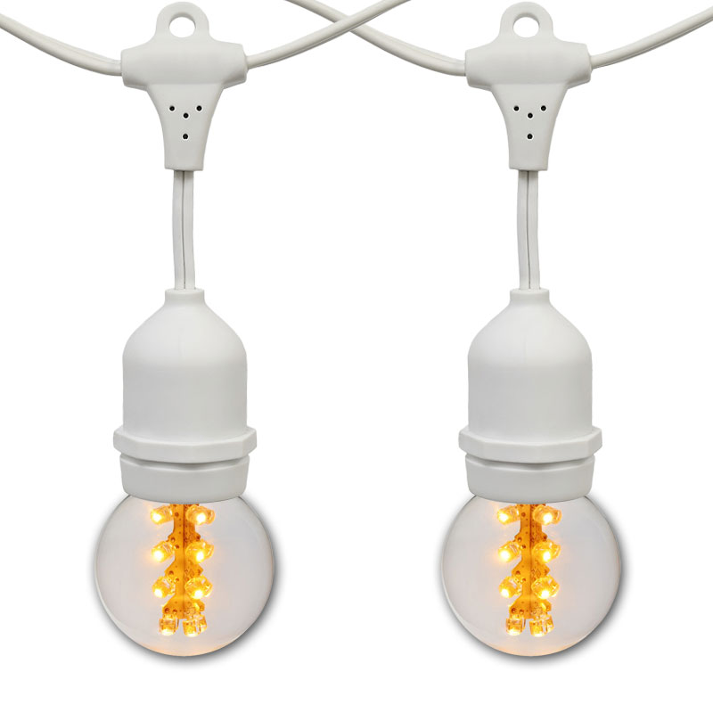 21' Sun Warm White Designer LED Globe Light Strand Kit - White Wire