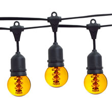 21' Yellow Designer LED Globe Light Strand Kit - Black Wire