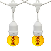 21' Yellow Designer LED Globe Light Strand Kit - White Wire