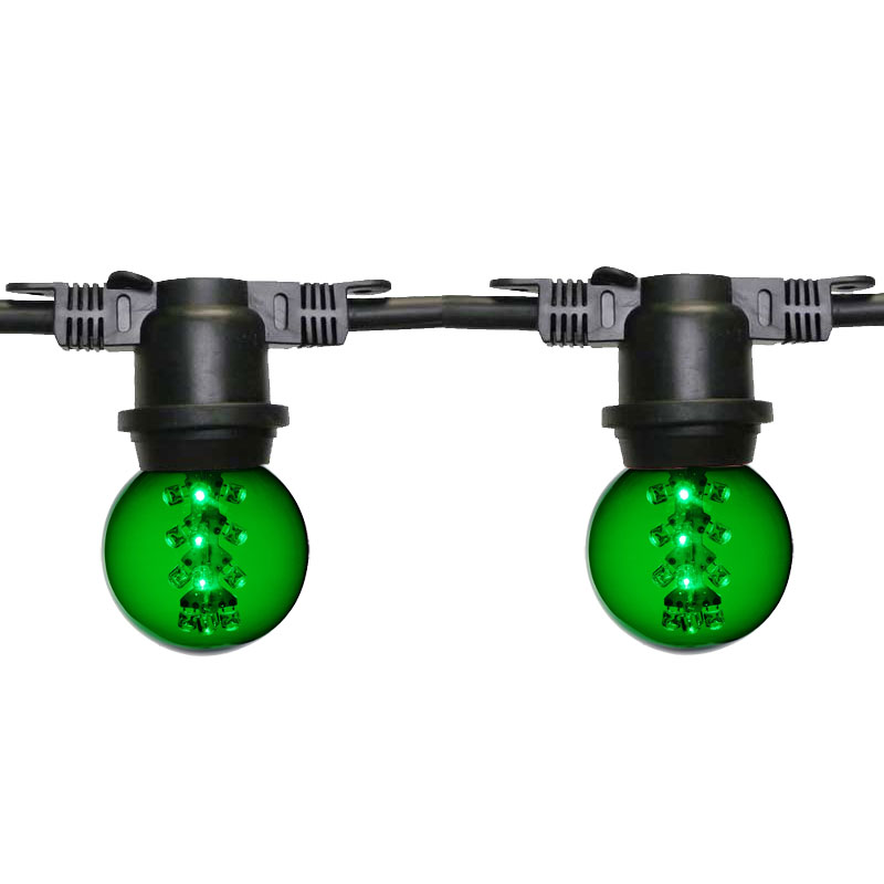48' Green Designer LED G50 Globe Light Strand - Black Wire