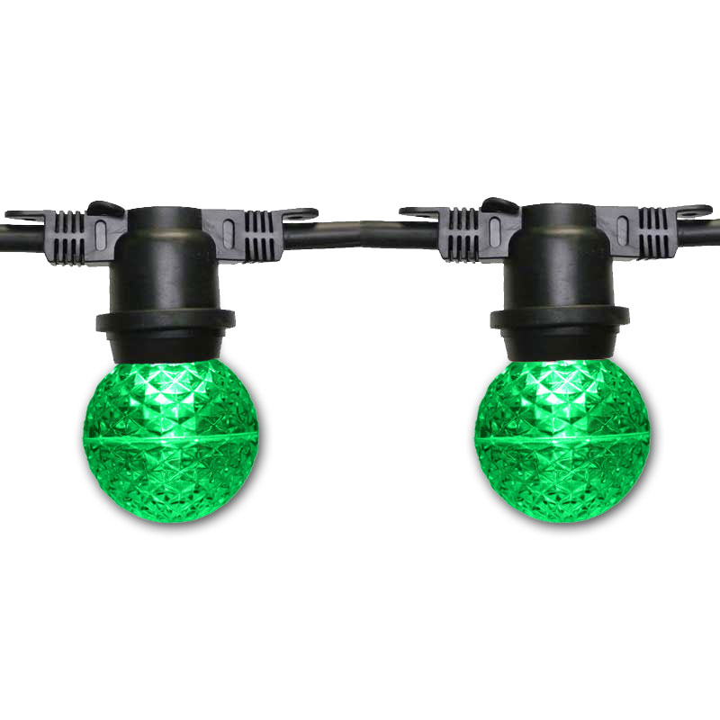 48' Green G50 LED Globe Lights - Black Non-Suspended Strand