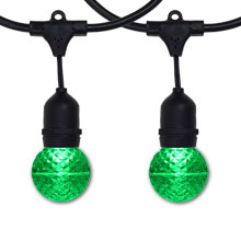 48' Black Suspended Green LED G50 Globe Light Strand