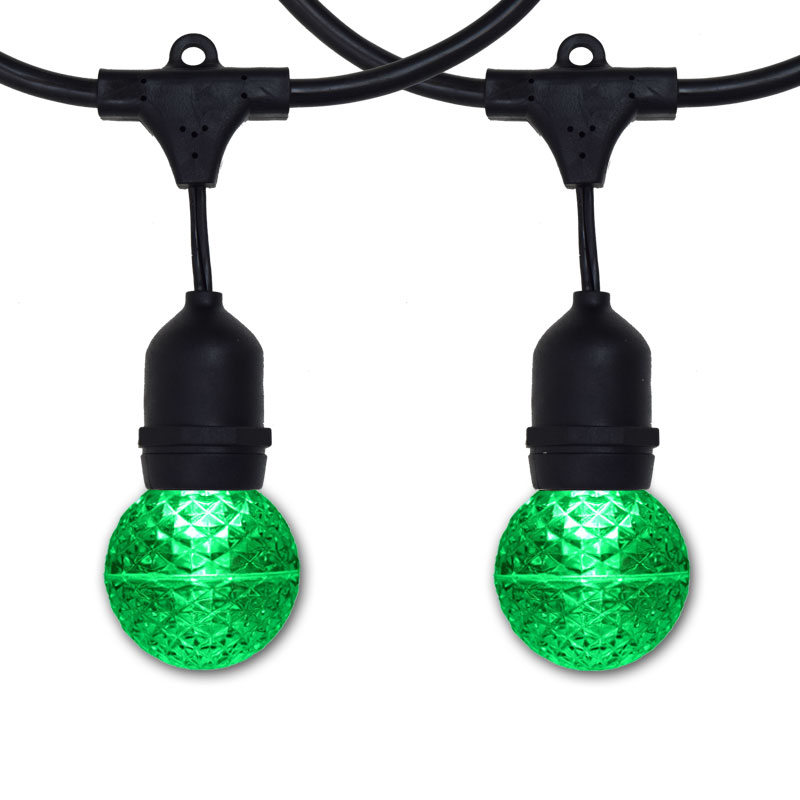 100' G50 Globe Suspended Light Strand Kit - Green LED Bulbs