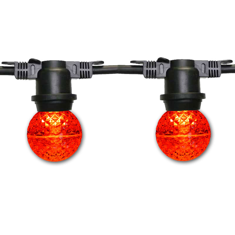 48' Red LED Globe Commercial Light Strand - Black Wire