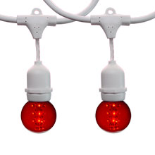 48' Red LED Designer Globe Light Kit - White Suspended