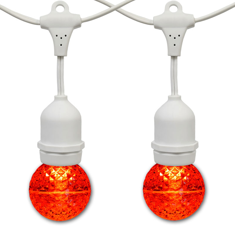 21' Red LED Globe Light Strand Kit - White Suspended Wire