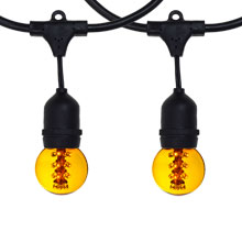 48' Yellow LED Designer Globe Light Kit - Black Suspended