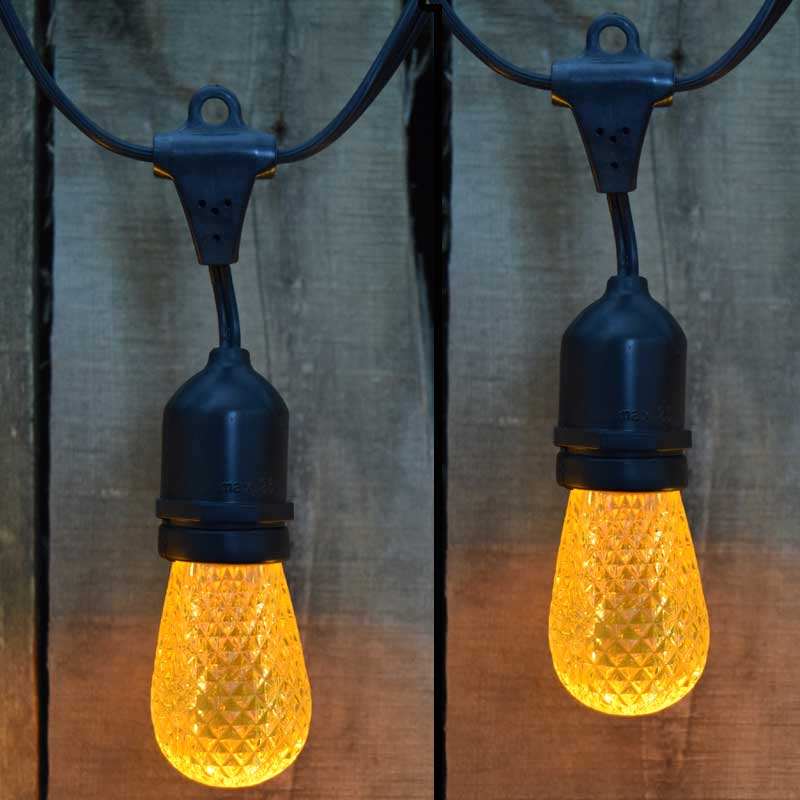 21' LED Commercial String Light Kit - Plastic Yellow Faceted LED Light Bulbs