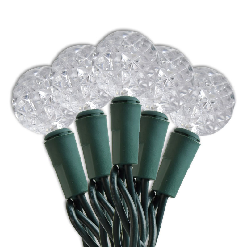 Diamond Cut Warm White LED Mini Globe String Lights