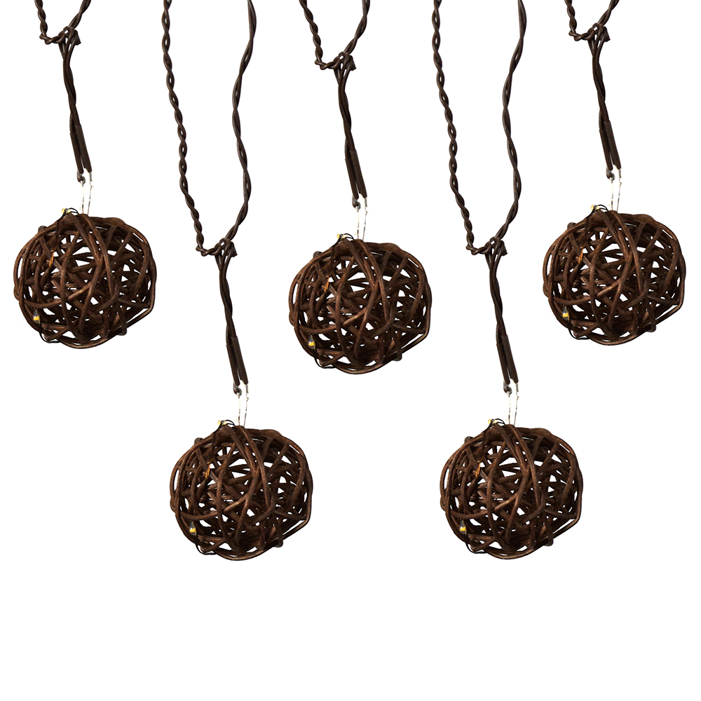 "Grapevine LED B/O Light Spheres - Brown Wire -  (10) 2"" Spheres"