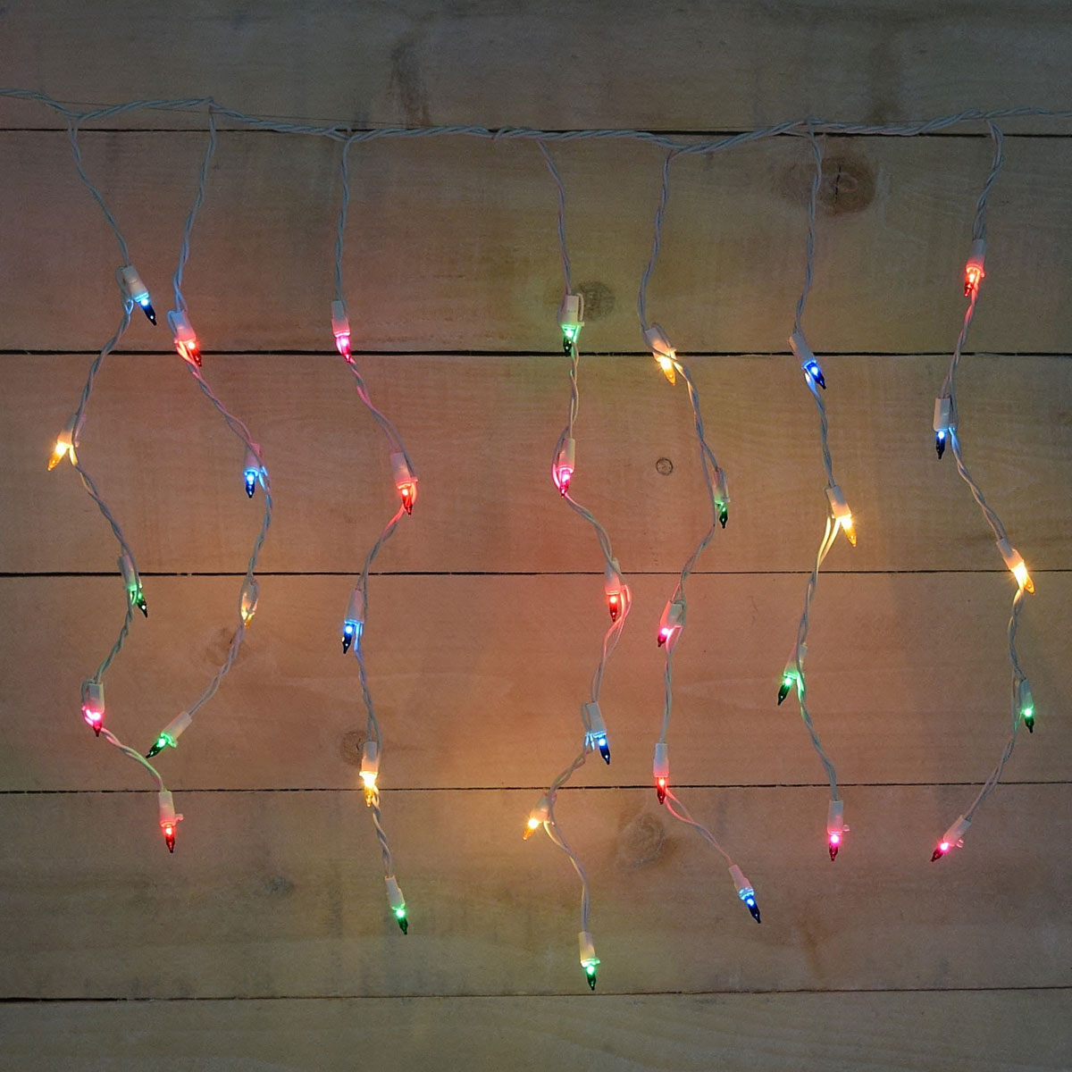 50 count icicle multi color string lights. Black Bedroom Furniture Sets. Home Design Ideas