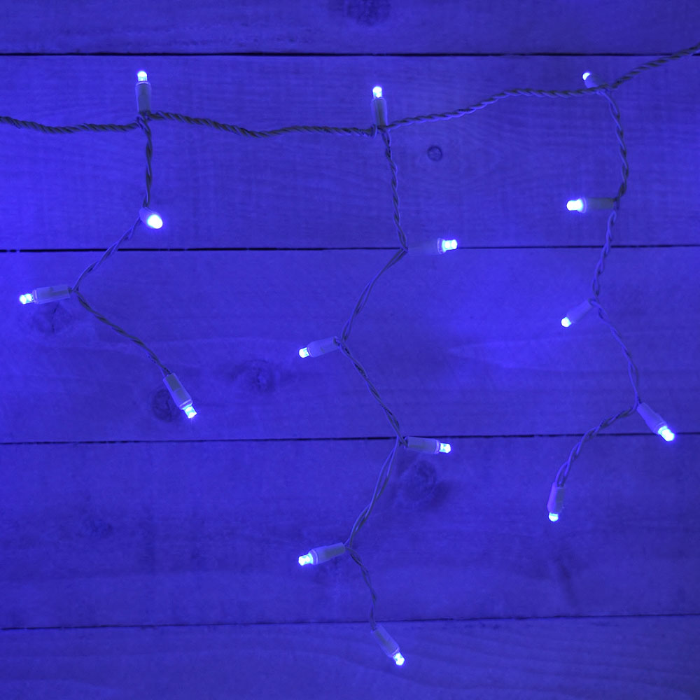 Color Changing Icicle Lights - Clear/Blue - White Wire