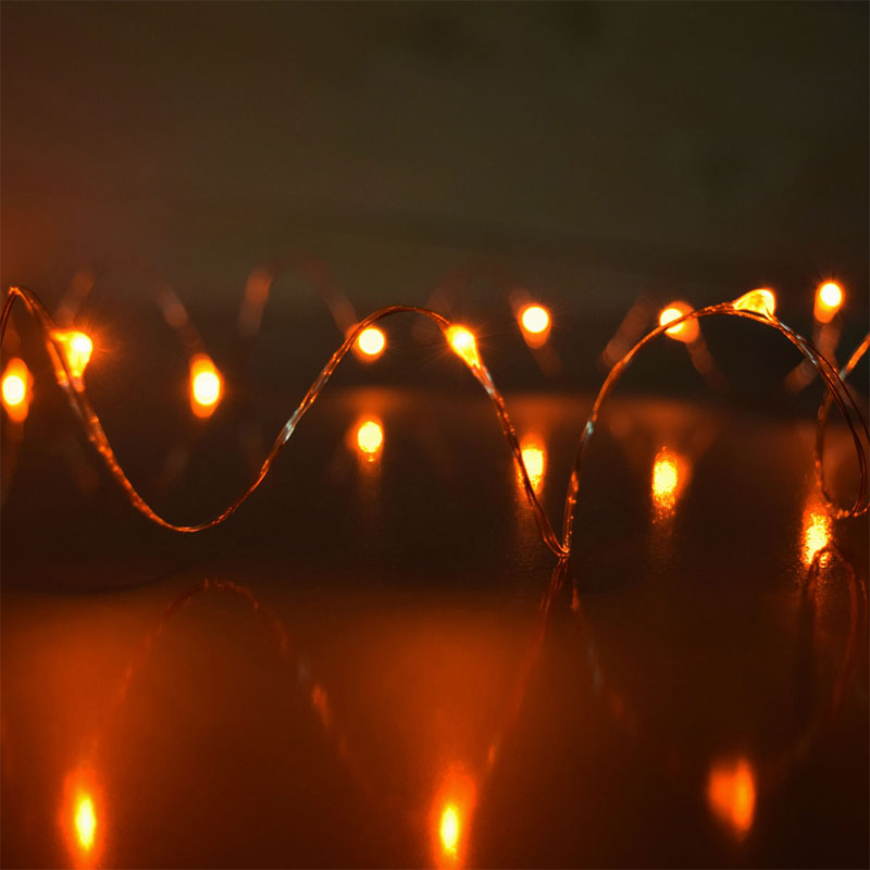 Amber LED Starry Fairy Dewdrop String Lights
