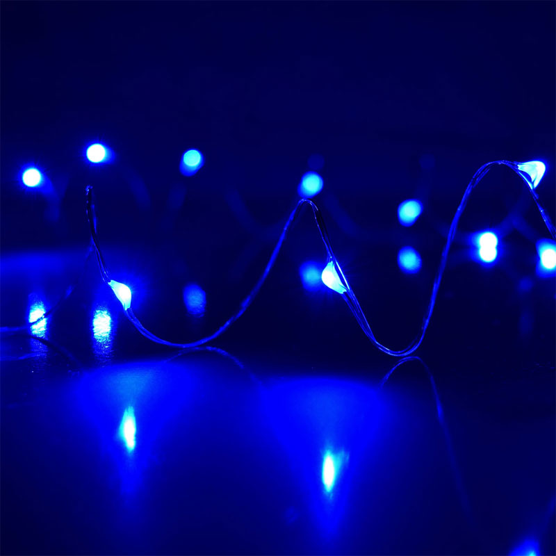 String Lights Blue : Blue Plug-In LED Dewdrop String Lights