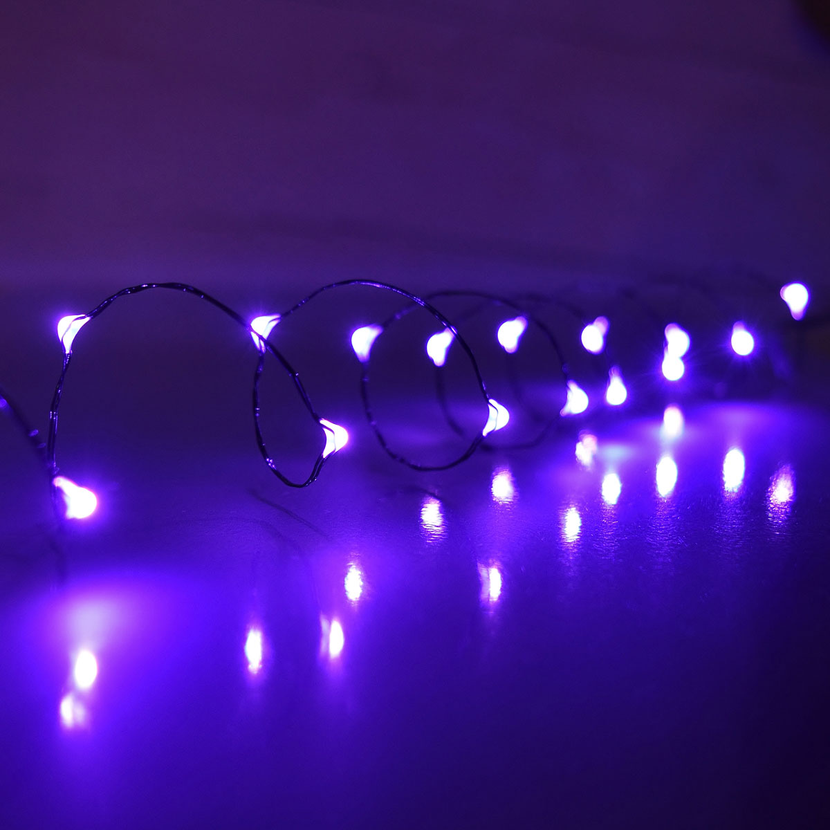 10 ft purple led multi function micro string lights battery operated