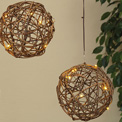 "Twig Rattan Ball Set - Brown w/ White LED Lights - (4) 6"" Spheres - GC2116970"